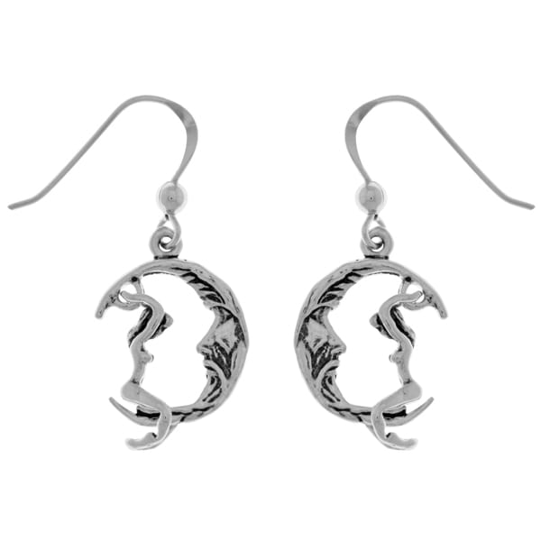 Carolina Glamour Collection Sterling Silver Maiden Riding Crescent Moon Dangle Earrings