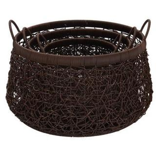 Brown Polyresin Wicker Birdsnest Basket Hamper Set