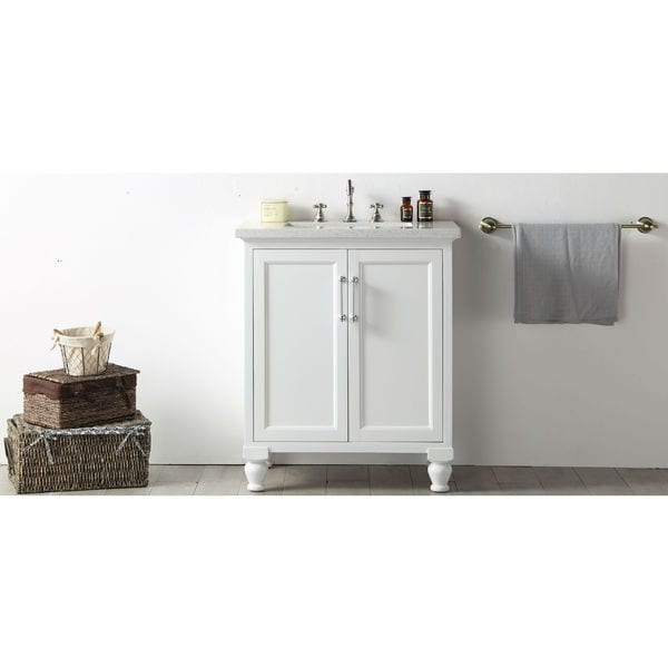 Legion Furniture Quartz Top 30-inch White Single Bathroom Vanity