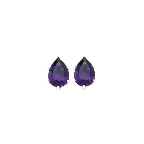 Gold over Silver Purple Crystal Stud Earrings