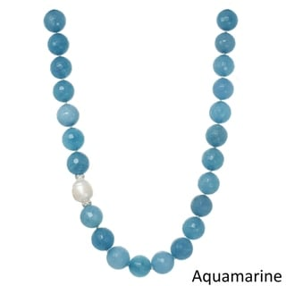 Genuine Gemstone and Freshwater Pearl Necklace