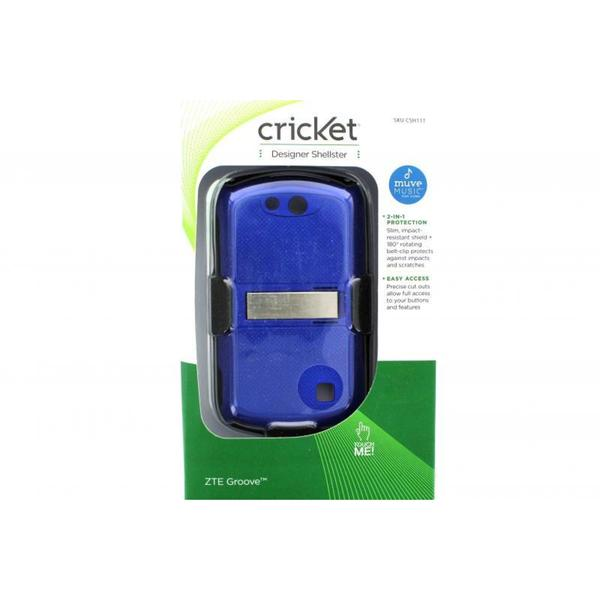 Cricket Designer Shellster CSH111 Blue Case With Holster for ZTE Groove