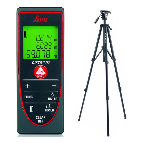 Leica DISTO D2 Laser Distance Measurer With TRI100 Tilting Head Tripod