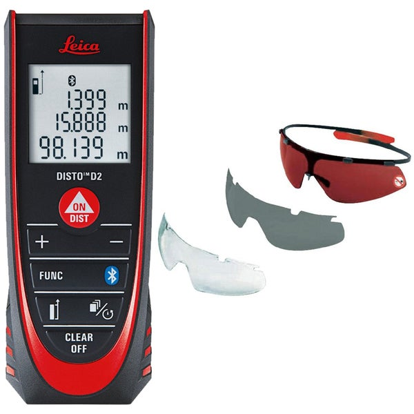 Leica DISTO D2 Laser Distance Measurer With GLB30 Laser Glasses