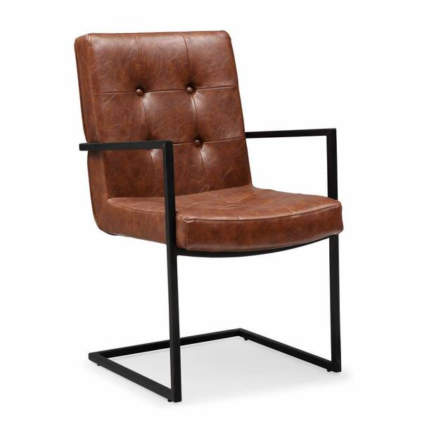 Stanley Camel Brown Faux Leather Arm Chair