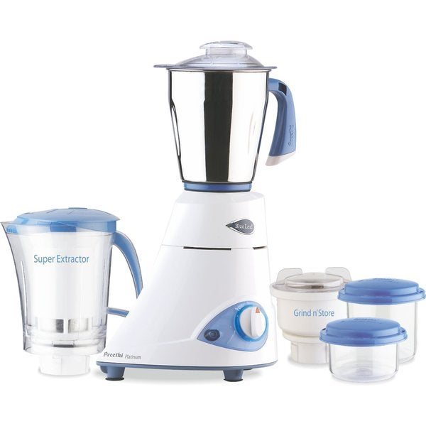 Preethi Blue Leaf Platinum 110-volt 550-watt 3-jar Indian Mixer Grinder