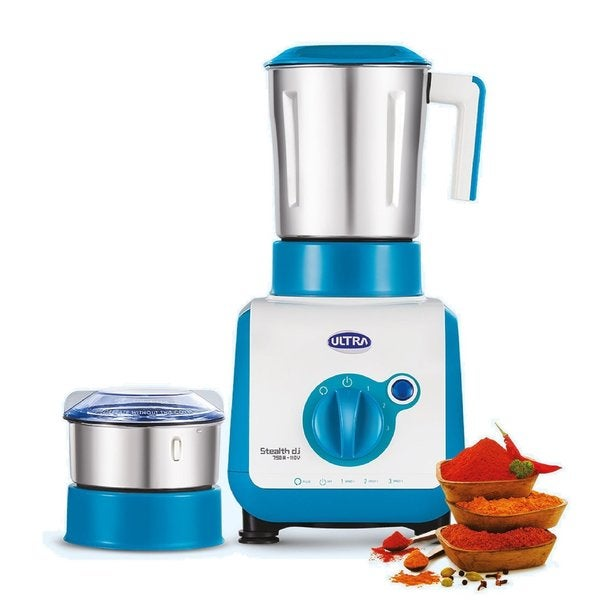 Ultra Stealth Blue Stainless Steel 750-watt 2-jar Mixer Grinder