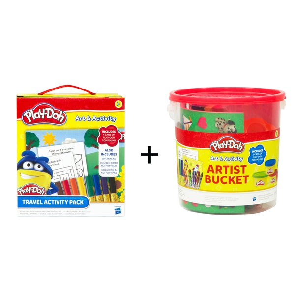 Play-Doh Travel Activity Pack & Play-Doh Large Activity Bucket Combo Set