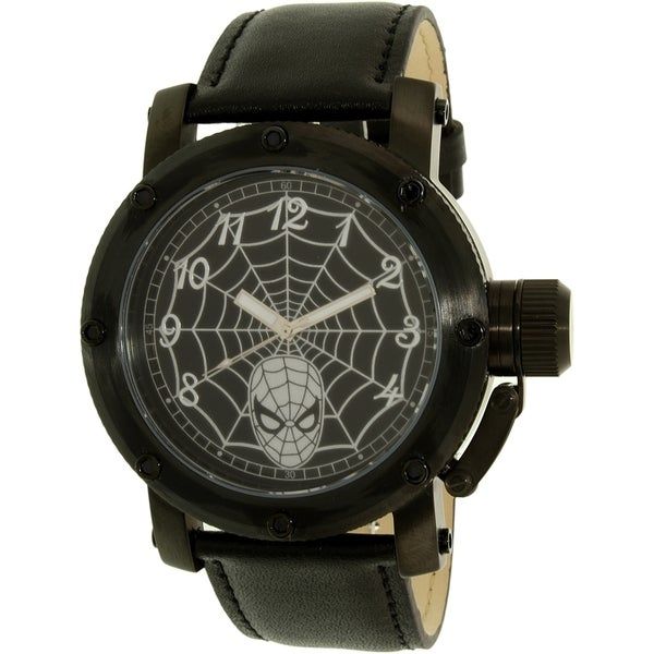 Disney Spider-Man SPM149 Black Leather Men's Quartz Watch 20837465