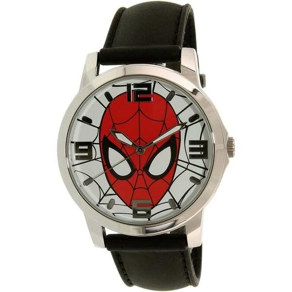 Disney Ultimate Spider-Man SPMAQ579 Black Leather/Stainless Steel Analog Quartz Men's Watch 20837661