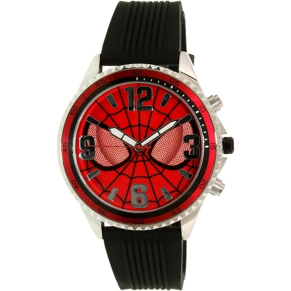 Disney Amazing Spider-Man Men's Black/Red Silicone Quartz Watch