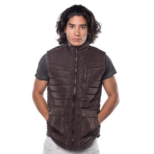 Rock Revolution Men's Quilted Fur-lined Zip-up Suede-piped Chest Zipper Pocket Vest