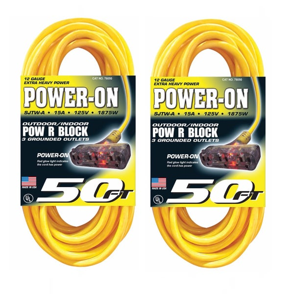 U.S. Wire 50-Foot Yellow Extension Cord with Lighted Pow-R-Block (2-Pack)