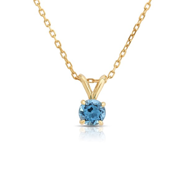 Noray Designs 14k Gold 5mm Swiss Blue Topaz Solitaire Pendant