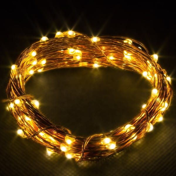 LED Concepts Copper Wire Warm White LED String Chrismas Lights