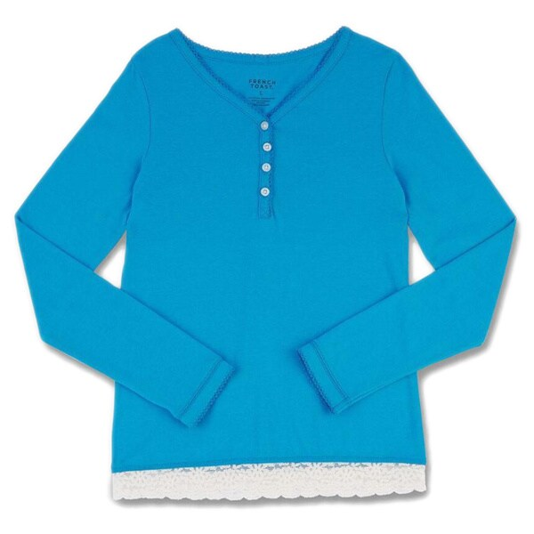 French Toast Girls' Jersey Long-sleeve Lace Trim Henley