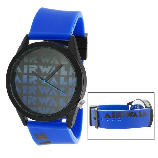Airwalk Metal Alloy Case w/ Blue Silicon Strap Analog Watch