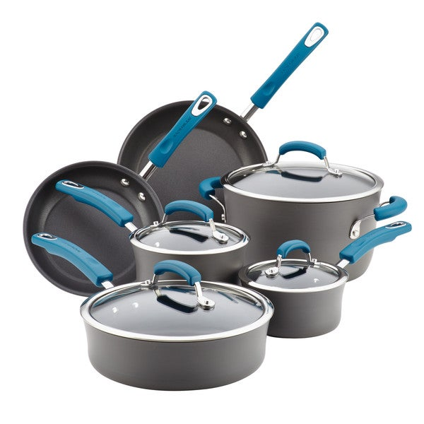 Rachael Ray Hard-Anodized Aluminum Nonstick Cookware Set, 10-Piece, Gray with Marine Blue Handles 20839186