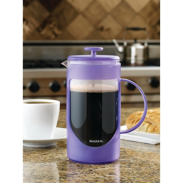 BonJour Coffee Unbreakable Plastic French Press, 8-Cup, Ami-Matin, French Lavender 20839210