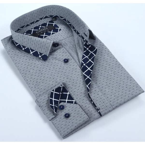 Coogi Mens Grey & Navy Printed Dress Shirt