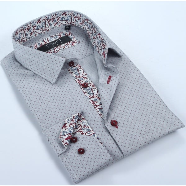 Coogi Mens Grey & Burgundy w/ Paisley Trim Dress Shirt
