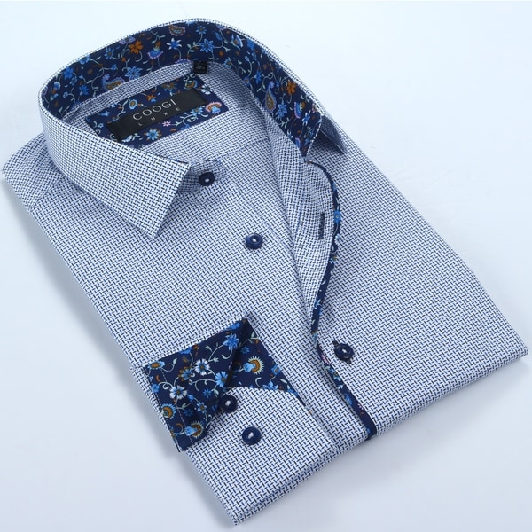 Coogi Mens White/Blue/Navy Dress Shirt