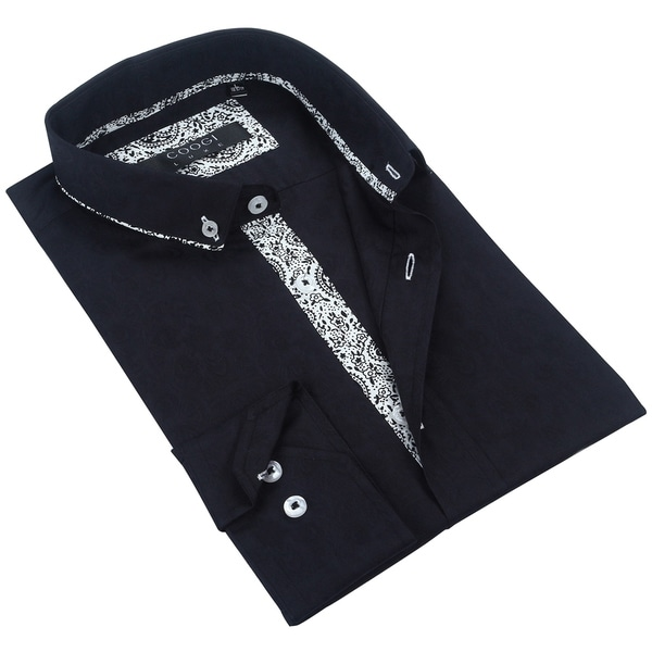 Coogi Mens Black/White Patterned Dress Shirt