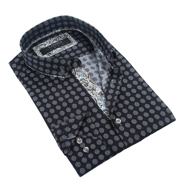 Coogi Mens Black/Grey Patterned Dress Shirt