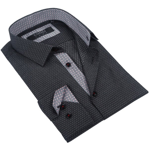 Coogi Mens Black/Grey/Red Patterned Dress Shirt