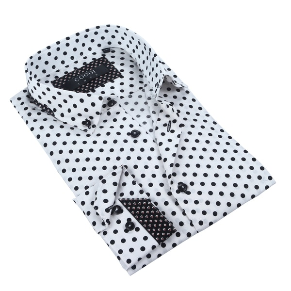Coogi Mens White/Black Polka Dot Dress Shirt