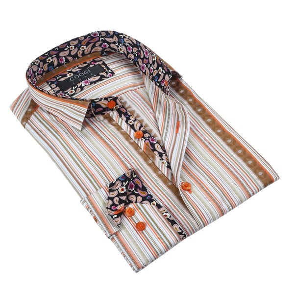 Coogi Mens Light Brown/Orange Stripe Dress Shirt