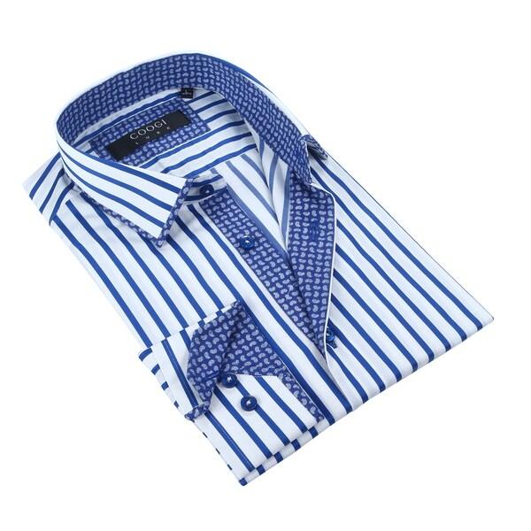 Coogi Mens White/Blue w/Paisley Trim Dress Shirt
