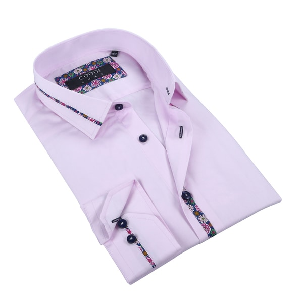 Coogi Mens Solid Pink w/Paisley Dress Shirt