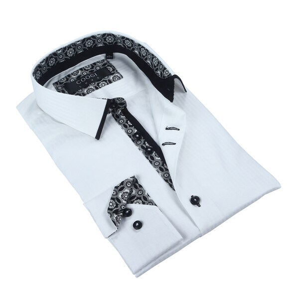 Coogi Mens Solid White Dress Shirt
