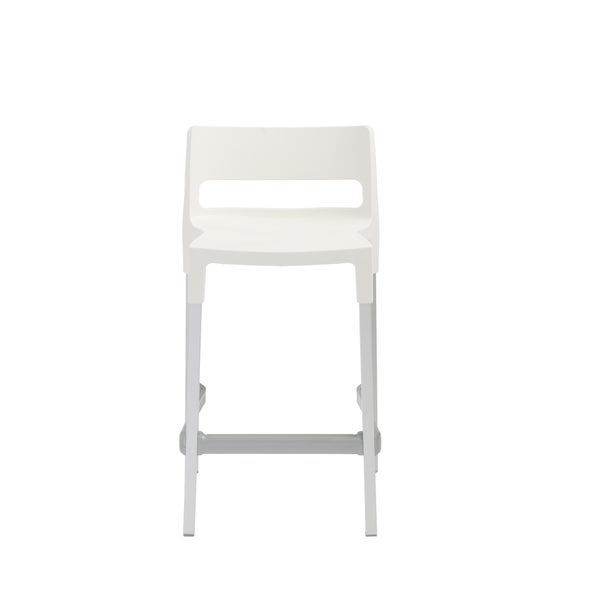 Divo Linen White Stackable Aluminum Counter Stool (Set of 4)