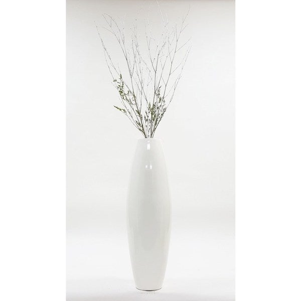 White 28-inch Lacquer Cylinder Floor Vase with Branches 20841924