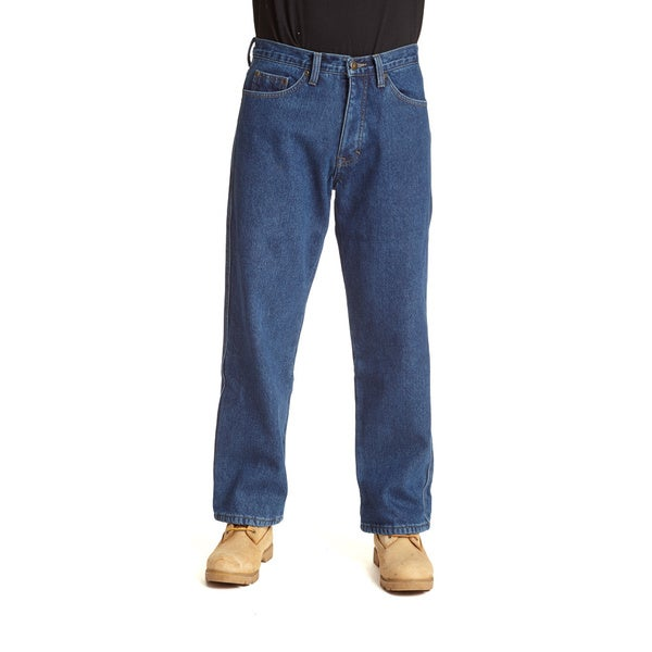 Stanley Men's Blue Cotton/Denim 5-pocket Jeans Lined in Anti-pill Fleece