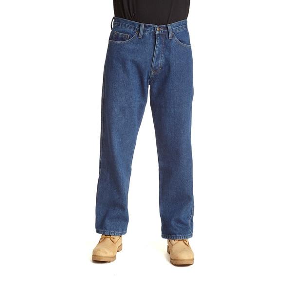 Stanley Men's Blue Cotton/Denim 5-pocket Jeans Lined in Anti-pill Fleece