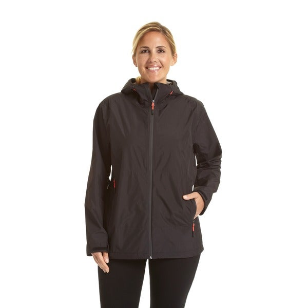Champion Women's Black/Grey Polyester Plus Size Stretch 100% Waterproof Breathable All-weather Jacket