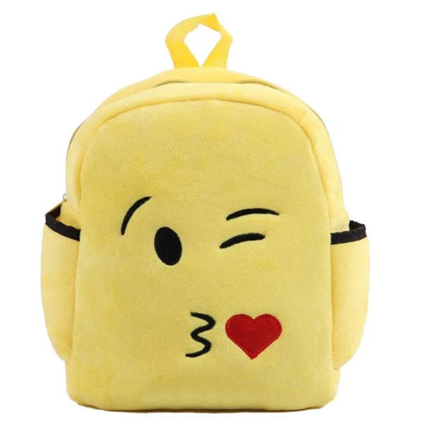 Baby Deluxe Show Your Emoticon Kiss-face Emoji Face Yellow Polyester Plush Little Kids Backpack