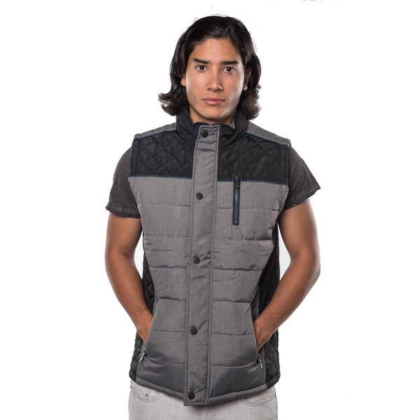 Men's Blue/Green/Red/Black Polyester Quilted Fur-lined Zip-up Vest with Zippered Chest and Front Pockets