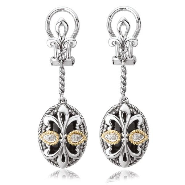 Avanti Sterling Silver and 18K Yellow Gold Oval Black Onyx Fleur-De-Lis Design Dangle Earrings 20845668