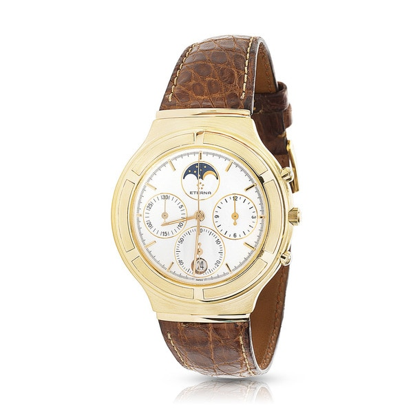 Pre-Owned Eterna Airforce 850.4334.68S Chronograph Watch in 18K Yellow Gold