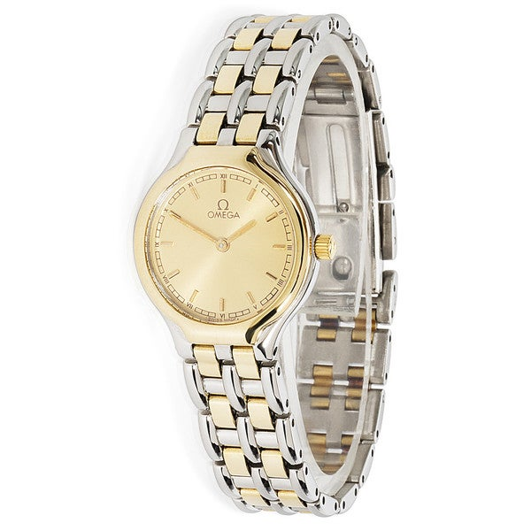 Pre-owned Ladies 1990s Omega Symbol Two-Tone 18K Yellow Gold/Steel Quartz Dress Watch