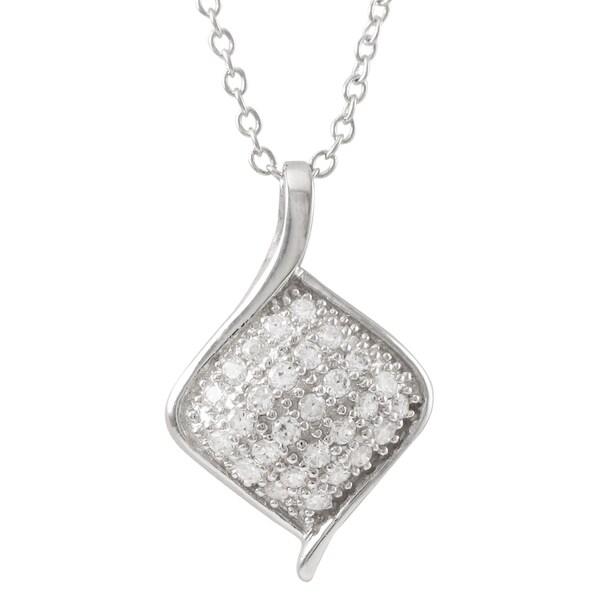 Luxiro Sterling Silver Cubic Zirconia Diamond Shape Pendant Necklace