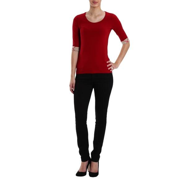 Burberry Red Cotton XL Roll-up-cuff T-shirt