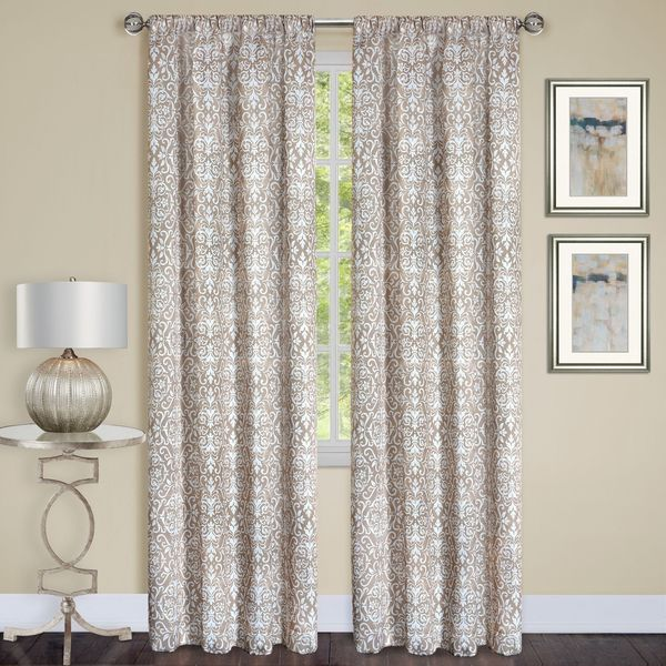 Madison Black/Taupe/Silver Polyester 84-inch x 63-inch Window Curtain Panel