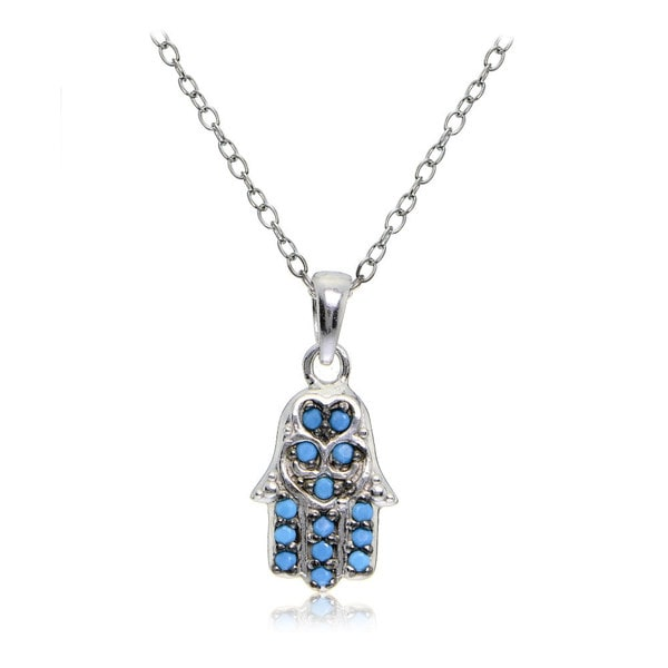 Glitzy Rocks Sterling Silver Simulated Turquoise Small Hamsa Hand Necklace