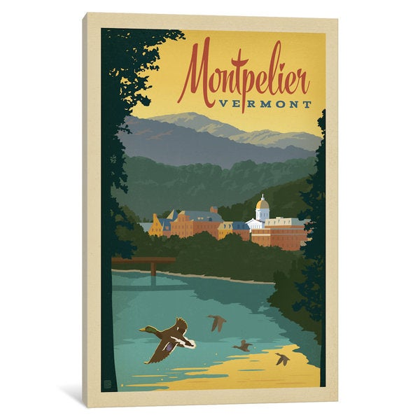 iCanvas Art & Soul Of America American Cities Collection: Montpelier, Vermont by Anderson Design Group Canvas Print