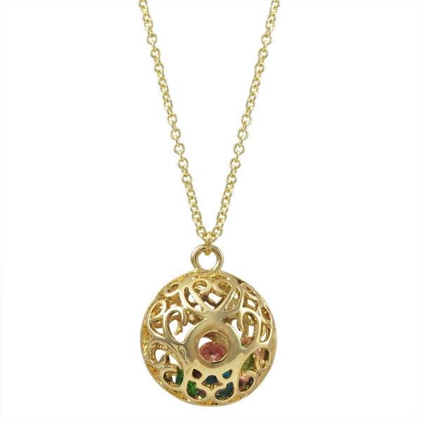 Luxiro Gold Finish Multi-color Stones Filigree Cage Pendant Necklace